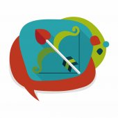 Valentine's day Cupid bow and arrow flat icon with long shadow,e — Vector de stock
