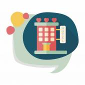 Valentine's day hotel flat icon with long shadow,eps10 — Stok Vektör
