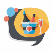 長い影、eps10 とバレンタインの日シャンパン フラット アイコン — ストックベクタ