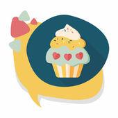 Walentynki ciastko płaski ikona z długim cieniem, eps10 — Wektor stockowy