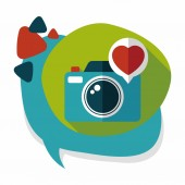 Valentine's Day photo camera flat icon with long shadow,eps10 — Vector de stock