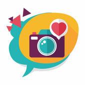 Valentine's Day photo camera flat icon with long shadow,eps10 — Wektor stockowy