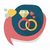 Valentine's Day diamond ring flat icon with long shadow,eps10 — Stock Vector