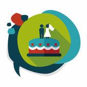 Wedding cake flat icon with long shadow,eps10 — Vecteur