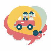 Wedding car flat icon with long shadow, eps10 — Stok Vektör