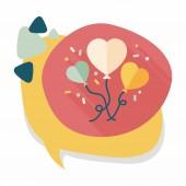 Wedding ballons flat icon with long shadow,eps10 — Stock Vector