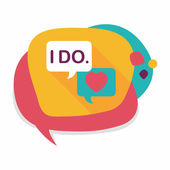 Wedding yes i do words flat icon with long shadow,eps10 — Stock Vector