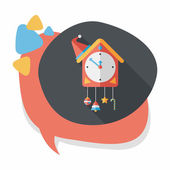Cuckoo clock flat icon with long shadow,eps10 — Stock Vector