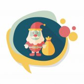 Santa Claus flat icon with long shadow, eps10 — Stock Vector