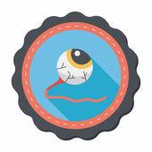 Halloween eyeball flat icon with long shadow,eps10 — Stock Vector