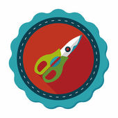 Kitchenware scissors flat icon with long shadow,eps10 — Stock Vector