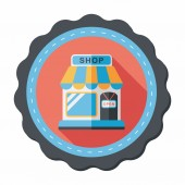 Shopping store flat icon with long shadow,eps10 — Vector de stock