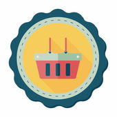 Shopping basket flat icon with long shadow,eps10 — Stockvektor
