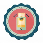 Online shopping flat icon with long shadow,eps10 — Cтоковый вектор