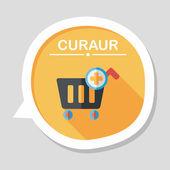 Einkaufen flache Einkaufswagen-Symbol mit langen Schatten, eps10 — Stockvektor