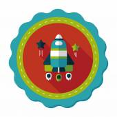Space rocket flat icon with long shadow,eps10 — Stock Vector