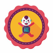 Chinese New Year flat icon with long shadow,eps10, Maitreya doll — Stock Vector