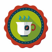Hot tea flat icon with long shadow,eps10 — Stockvektor