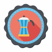 Coffee kettle flat icon with long shadow,eps10 — Stockvektor