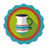 Thee pot platte pictogram met lange schaduw, eps10 — Stockvector