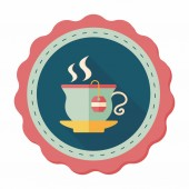 Hot tea flat icon with long shadow,eps10 — Stock Vector