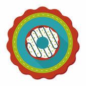 Donut platte pictogram met lange schaduw, eps10 — Stockvector