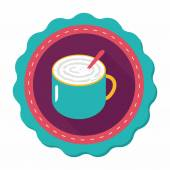 Coffee latte art flat icon with long shadow,eps10 — Wektor stockowy