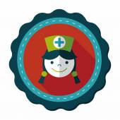 Enfermera médico icono plana con larga sombra, eps10 — Vector de stock