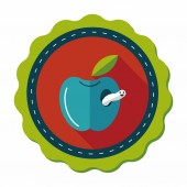 Apple flat icon with long shadow,eps10 — 图库矢量图片