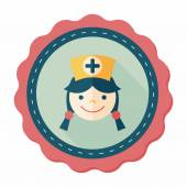 Medical nurse flat icon with long shadow,eps10 — Stock Vector
