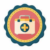 Plano icono de kit de primeros auxilios con larga sombra, eps10 — Vector de stock