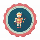 Robot concept flat icon with long shadow,eps10 — Stock Vector