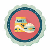 Hamburger and milk flat icon with long shadow,eps10 — Stock Vector