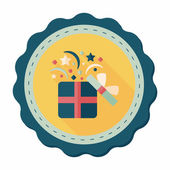 Shopping present flat icon with long shadow,eps10 — Stockvector