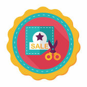 Shopping sale coupon flat icon with long shadow,eps10 — Stock Vector