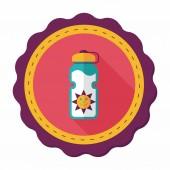Icono plana de deportes botella de agua con sombra, eps10 — Vector de stock
