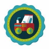 Icona piatto trattore con lunga ombra, eps10 — Vettoriale Stock