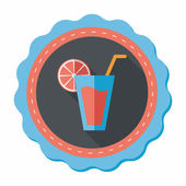 Cocktail flat icon with long shadow,eps10 — Vector de stock
