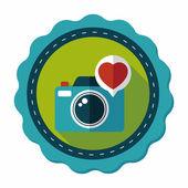 Valentine's Day photo camera flat icon with long shadow,eps10 — Stockvektor