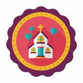 Wedding church flat icon with long shadow,eps10 — Stock Vector