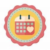 Wedding day calendar flat icon with long shadow,eps10 — Stock Vector