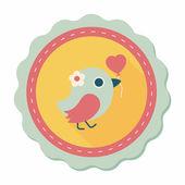 Wedding bird flat icon with long shadow,eps10 — Stock Vector