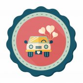 Wedding car flat icon with long shadow, eps10 — Stockvector