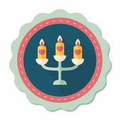 Wedding candle holder flat icon with long shadow,eps10 — Stockvector