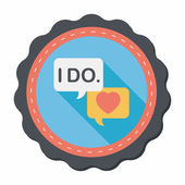 Wedding yes i do words flat icon with long shadow,eps10 — Stok Vektör