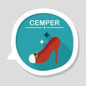 Wedding high-heeled shoes flat icon with long shadow,eps10 — Stockvektor