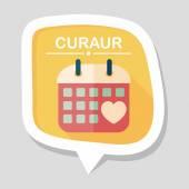 Ícone plano de casamento dia calendário com sombra longa, eps10 — Vetor de Stock