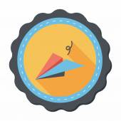 Paper airplane flat icon with long shadow — Stock Vector