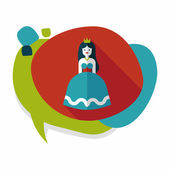 Princess flat icon with long shadow — Stock Vector