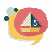 Segelboot flache icon mit langen schatten — Stockvektor